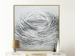 ...约灰色线条圆圈素描抽象装饰画