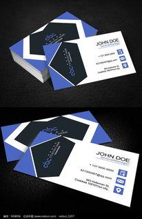 简洁蓝色二维码名片设计