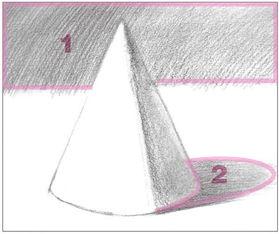 素描圆锥体的绘画步骤 3
