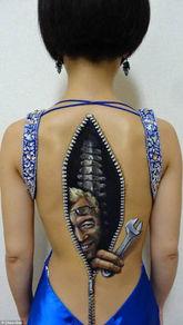 ...大学生创作恐怖人体彩绘艺术