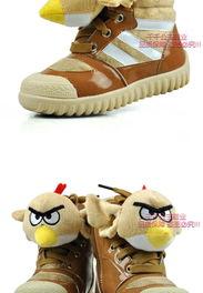 男童女童棉鞋 低筒短靴冬季鞋愤怒的小鸟平跟学生鞋