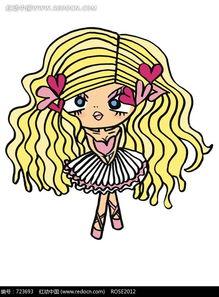 穿着芭蕾裙的卷发的卡通女孩图片免费下载 编号723693 红动网