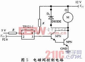 1-1使3/4管脚之间导通.由于电磁... 采用8050和TIP41两个NPN三极管...