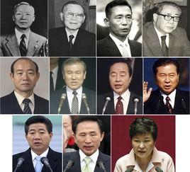 韩国历任总统.第一行从左至右:第1-3届李承晚、第4届尹潽善、第5-...