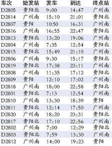 贵广高铁最新时刻表