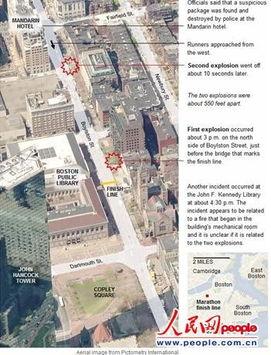 《纽约时报》刊登的爆炸地点截图.-今日美国 体育总裁讲述波士顿爆...