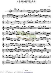 巴赫a小调小提琴五线谱