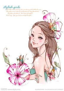 韩国漫画-韩国少女与花插画图片