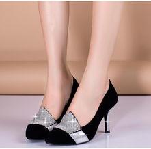 ...通勤真皮水钻粗高跟鞋高端精品女鞋子