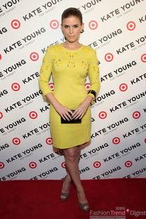凯特·玛拉(Kate Mara)身穿黄色七分袖的连衣裙,真的好春天啊!...