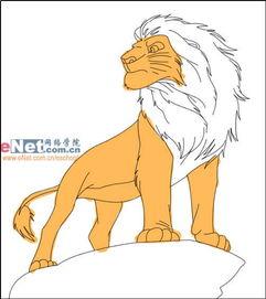 1、画出狮子的身体和后腿,当然尾巴可不能漏了   8、继续画出狮子饿...