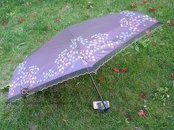 2013款台湾彩虹屋3349超强防紫外线遮阳伞 三折印花蕾丝边太阳伞