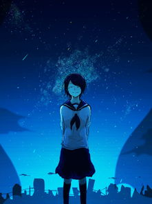 ...落之夜 p站 二次元 插画 少女 头像 手绘 星夜 星空 壁纸-星降る夜に ...