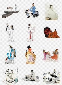 50款卡通手绘古代古人读书诗人背景素材-卡通水粉可爱学生PNG设计...