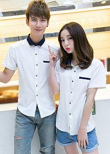 夏季情侣装 韩版女士工作装休闲短袖衬衫衣-情侣上衣