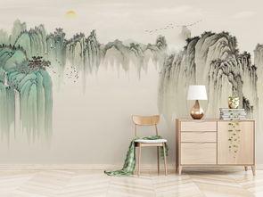 新中式意境工笔山水画现代简约客厅背景墙壁画图片设计素材 高清模板...