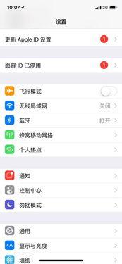iPhoneX设置页面,多出了一个提示项目就是自己的面容ID已停用的选...