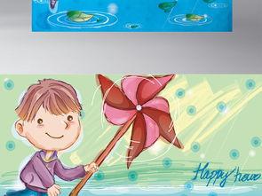 拿风车的小孩子手绘卡通背景墙画素材图片下载eps素材 儿童