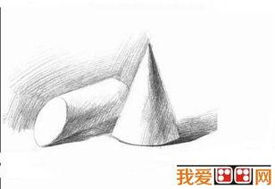 素描教程 素描圆锥与方锥结合体步骤