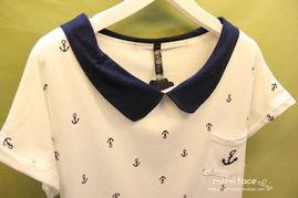 海军风娃娃领蝙蝠袖韩国撞色拼接色 波普风彼得潘领 方领T恤短袖