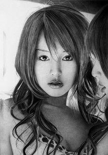 铅笔素描 黑白映画里的亚洲女孩