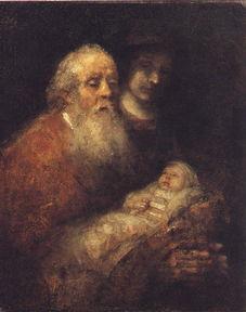 进入圣殿,看见约瑟和马利亚依照律法将耶稣献给上帝,就把耶稣抱过...