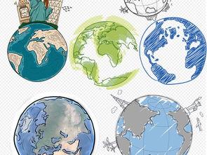 卡通手绘地球png免抠素材图片 模板下载 11.93MB 效果大全 其他