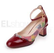 欧美高端真皮高跟鞋漆皮印花女鞋粗跟皮底一字扣单鞋单鞋