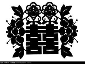 双喜字花卉植物剪纸AI素材免费下载 编号5254970 红动网