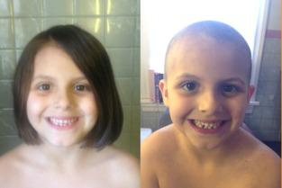 女生剃头发-...俄亥俄州的6岁女孩埃琳觉得爸爸的光头很好看,于是想有样学样,...