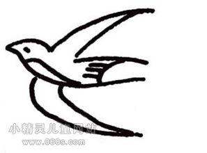 幼儿园简笔画教案 飞翔的两只燕子和柳树