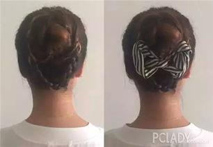 .然后其他几股头发分别打圈固定,用U型卡子整理衔接处的自然,形成...