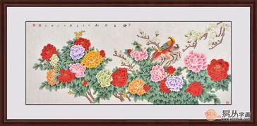 现代家居客厅挂什么花鸟画好,选富贵牡丹图增添富贵气息