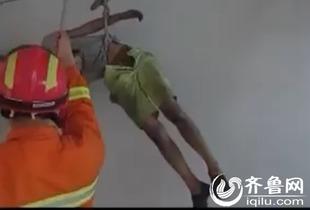 ...天花板夹层中(视频截图)-济南一网线安装工疑遭电击 跌至二楼天...