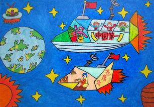 太空飞船儿童画绘画作品欣赏
