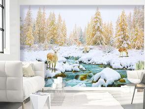 3D金色树林雪地麋鹿客厅卧室背景墙壁画图片设计素材 高清psd模板下...