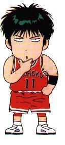 一场比赛,对阵三浦台的时候   那时晴子在上课,在本子上画流川枫,...