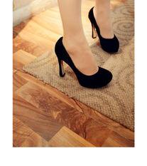 ...皮粗跟单鞋韩国公主鞋底