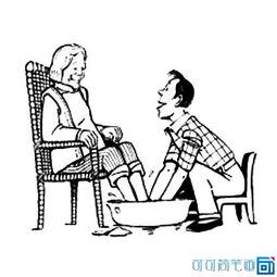 ...爱老人孝敬老人简笔画图片