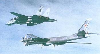 美军F-14舰载战斗机跟踪苏联图95RTS远程海上侦察机-为何打航母难...