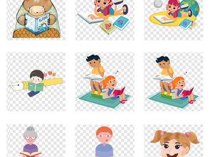 卡通读书日学习看书书本儿童小孩png素材图片 模板下载 31.34MB 儿...