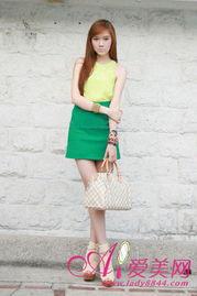 淫色a网-绿色A字裙+黄色背心-糖果色单品搭配 色 出夏日魅力