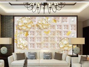 3D山茶花珠宝欧式软包电视沙发背景墙图片设计素材 高清psd模板下载...