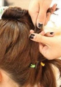 超短发丸子头的扎法图解 短发丸子头扎法步骤 6