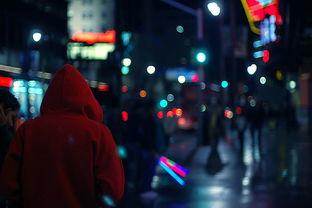 欧美夜景图片,有人的孤单背影