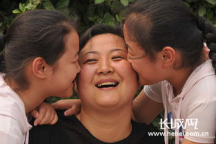 ...纪雨辰、纪雨含双胞胎姐妹争相亲吻母亲.  摄 -感恩母亲 邢台中小学...