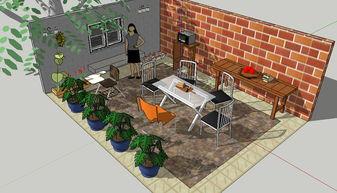 屋顶露台sketchup模型图片下载skp素材 其他模型