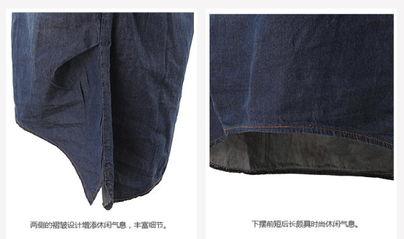 牛仔衬衣春装女式衬衫长袖新款韩版中长款牛仔衬衫翻领打底衫上衣