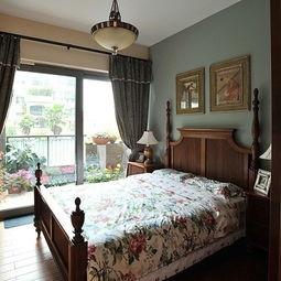 美式风格乡村温馨老人房家居卧室带阳台装修效果图片-最新阳台装修...