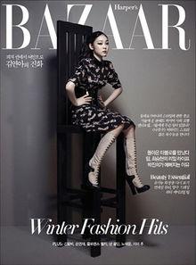 ...气场.更多精彩视频:视频-金妍儿时尚杂志写真 黑色诱惑释暗夜精...